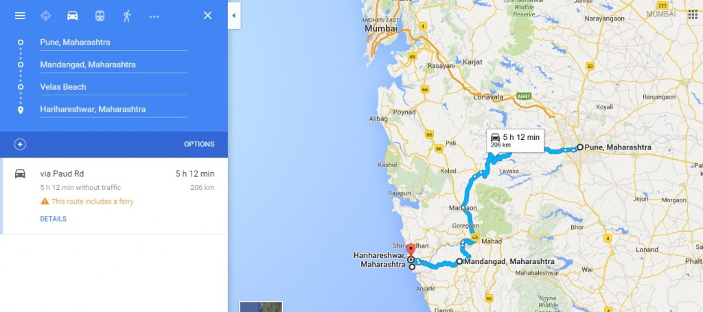 Velas Road Map from Pune